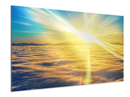 Aluminiumbild Sonnenuntergang über den Wolken