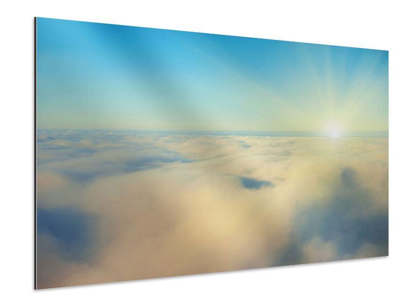 Aluminiumbild Dämmerung über den Wolken