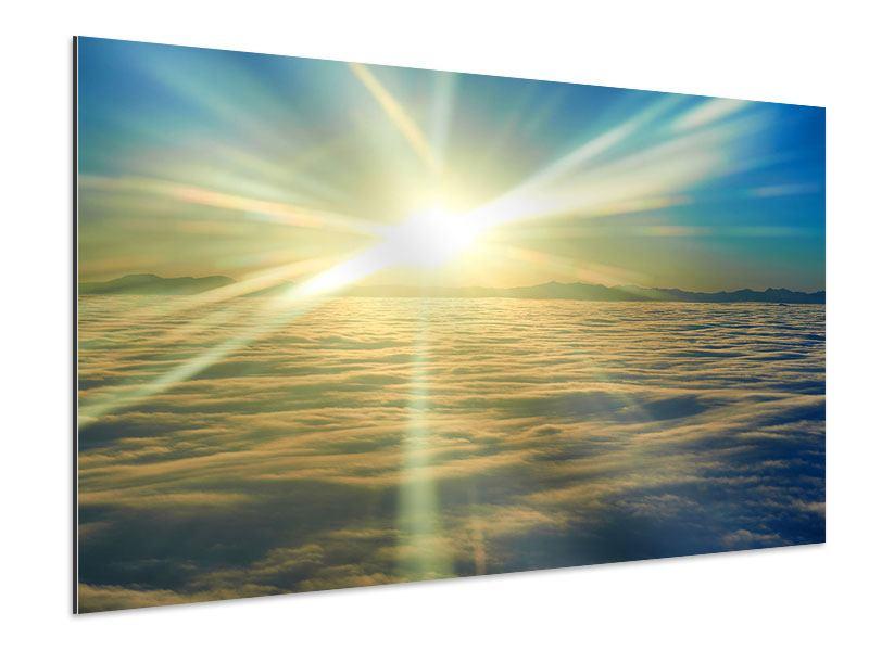 Aluminiumbild Sonnenaufgang über den Wolken