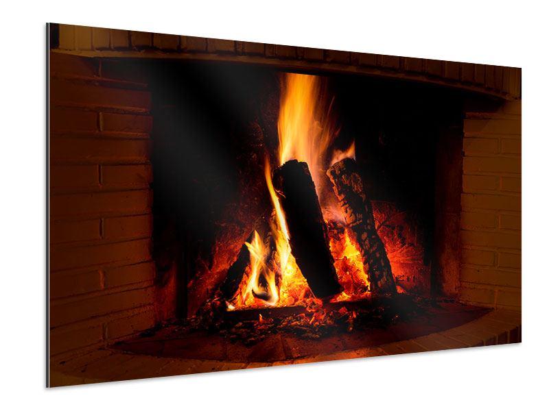 Aluminiumbild Feuer im Kamin