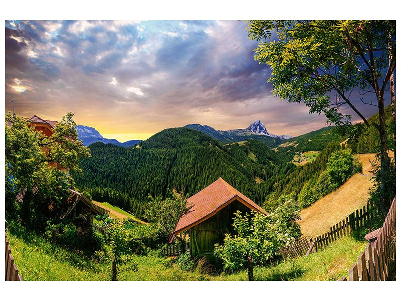 Aluminiumbild Schweizer Berge im Sommer