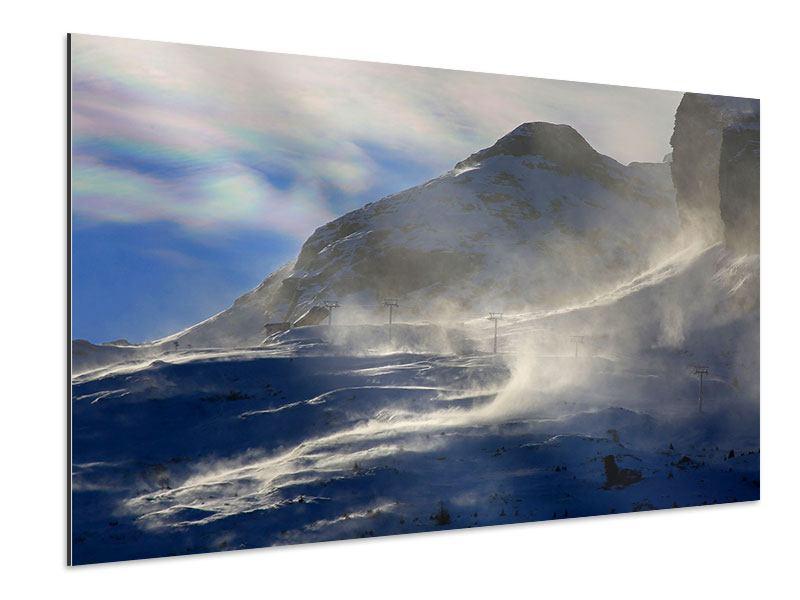 Aluminiumbild Mit Schneeverwehungen den Berg in Szene gesetzt