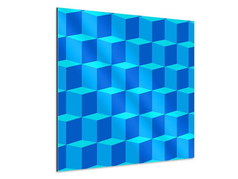Aluminiumbild 3D-Würfel Türkis