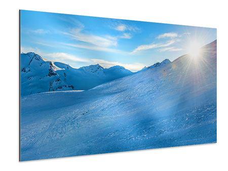 Aluminiumbild Sonnenaufgang in den Bergen
