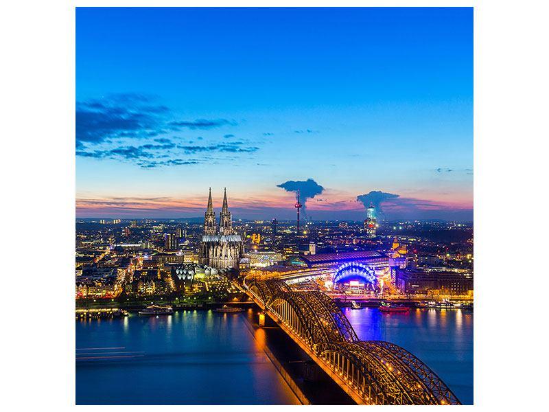 Aluminiumbild Skyline Ein Penthouse in Köln