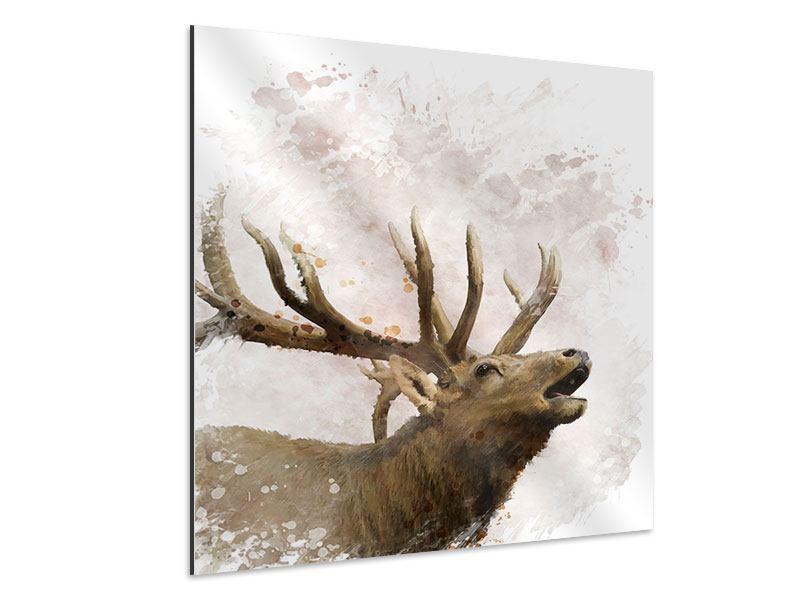 Aluminiumbild Elch-Gemälde