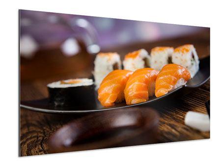 Aluminiumbild Sushi-Gericht