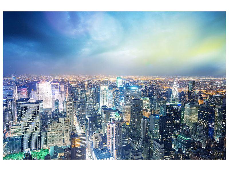 Aluminiumbild Skyline NY bei Sonnenuntergang