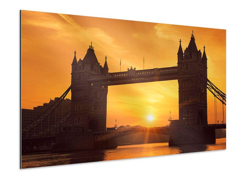 Aluminiumbild Sonnenuntergang bei der Tower-Bridge