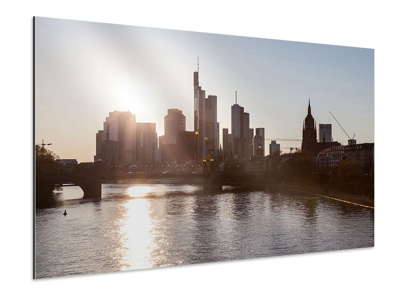 Aluminiumbild Skyline Sonnenaufgang bei Frankfurt am Main