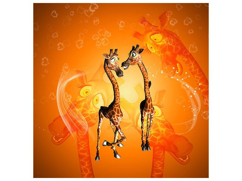 Aluminiumbild Giraffen Kinder
