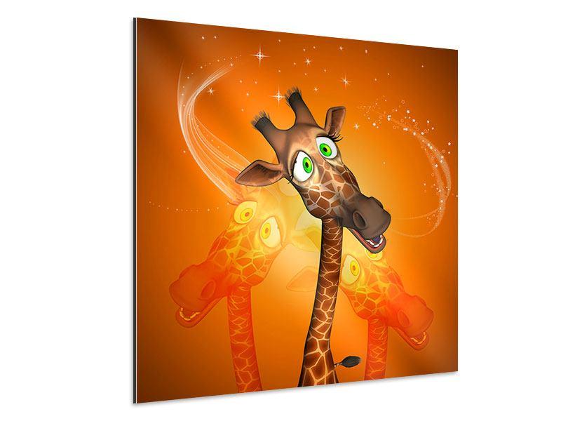 Aluminiumbild Giraffen Besuch