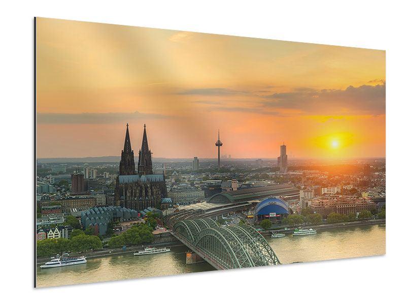 Aluminiumbild Skyline Köln bei Sonnenuntergang