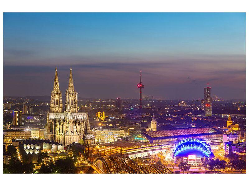Aluminiumbild Skyline Kölner Dom bei Nacht