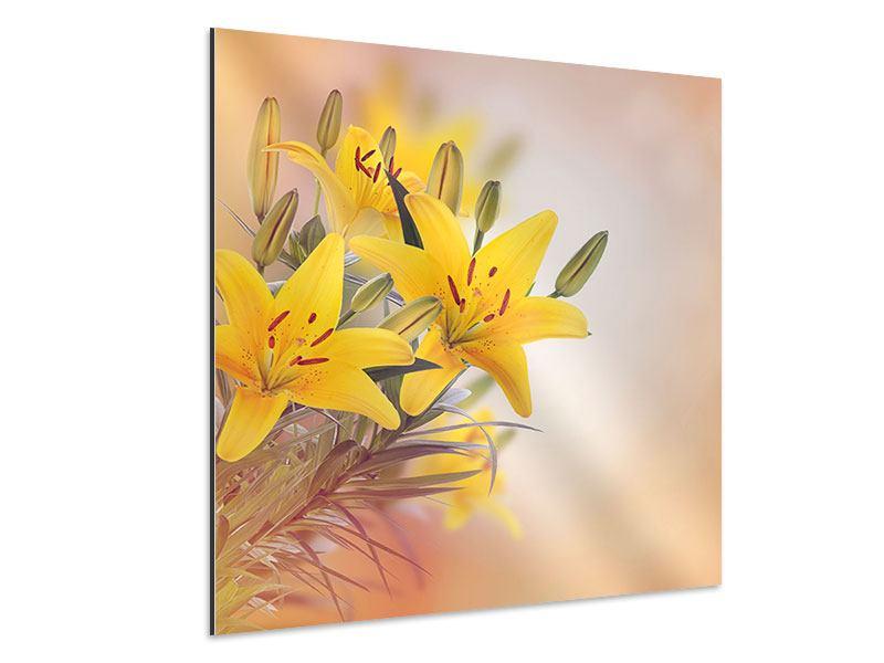 Aluminiumbild Gelbes Lilientrio