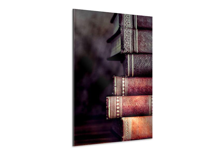 Aluminiumbild Antike Buchstapel