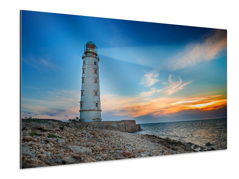 Aluminiumbild Sonnenuntergang am Leuchtturm