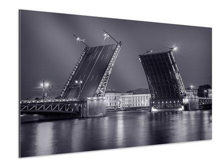 Aluminiumbild Klappbrücke bei Nacht