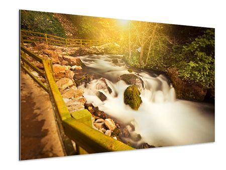 Aluminiumbild Sonnenuntergang am Wasserfall