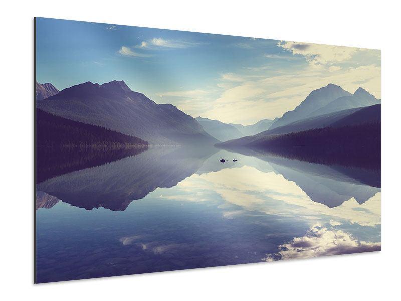 Aluminiumbild Bergspiegelung
