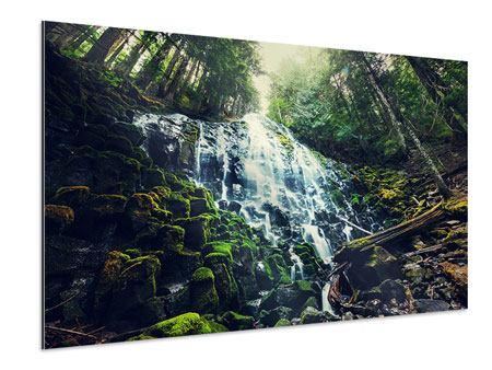 Aluminiumbild Feng Shui & Wasserfall