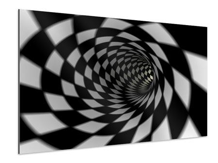 Aluminium Print Abstract Tunnel Black & White