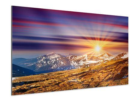 Aluminiumbild Majestätischer Sonnuntergang am Berggipfel