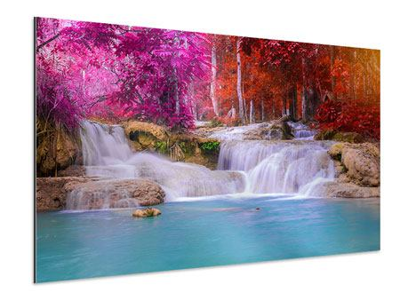 Aluminiumbild Paradiesischer Wasserfall