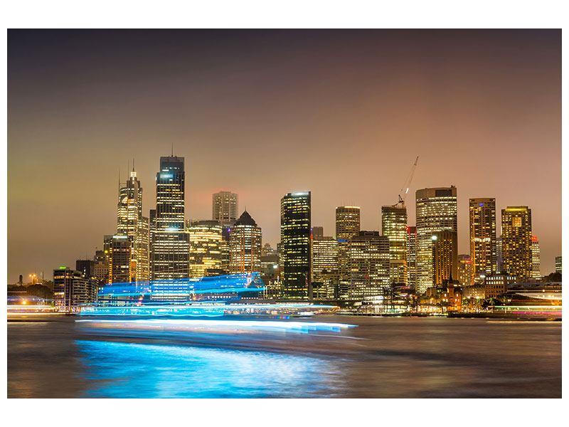 Aluminiumbild Skyline Sydney im Lichtermeer