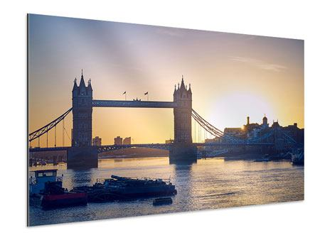 Aluminiumbild Tower Bridge bei Sonnenuntergang