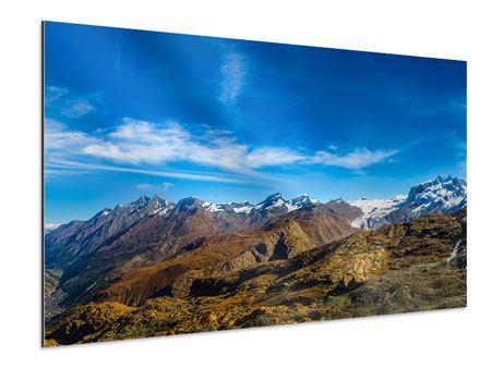 Aluminiumbild Schweizer Alpen im Frühling