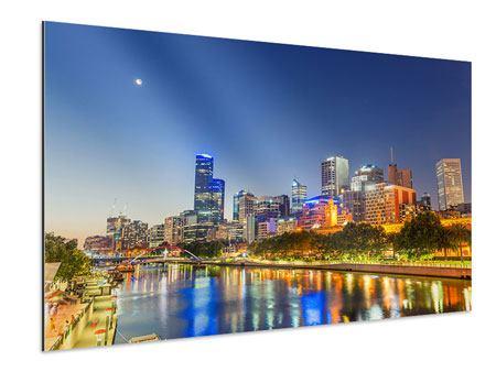 Aluminiumbild Skyline Sydney in der Abenddämmerung