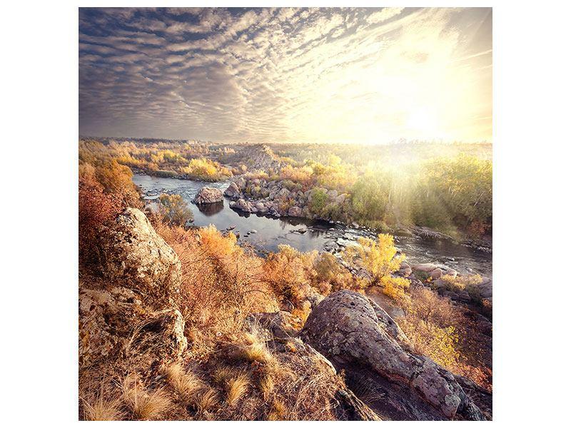 Aluminiumbild Sonnenaufgang am Fluss