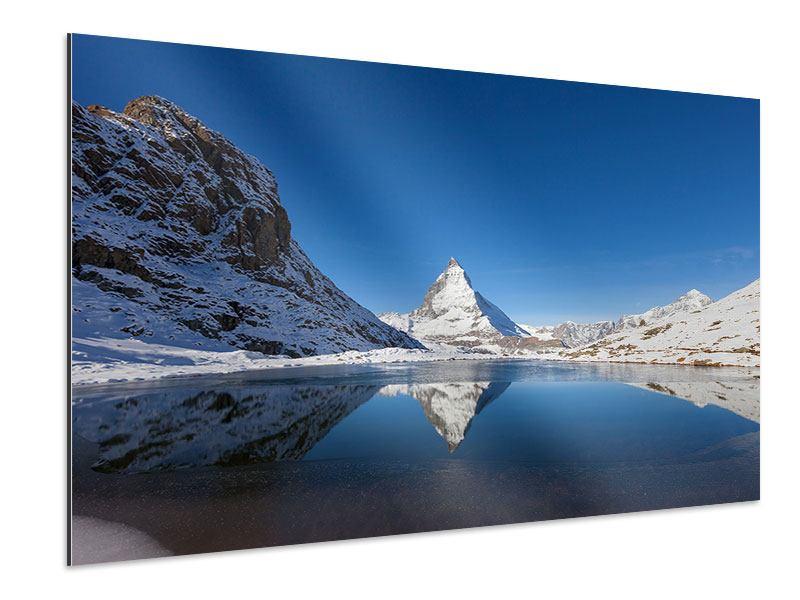 Aluminiumbild Der Riffelsee am Matterhorn