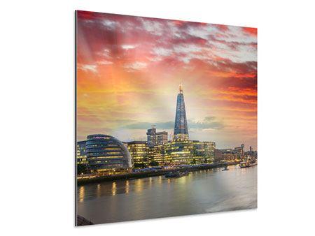 Aluminiumbild Skyline London im Abendrot