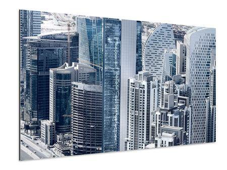 Aluminiumbild Die Wolkenkratzer von Dubai