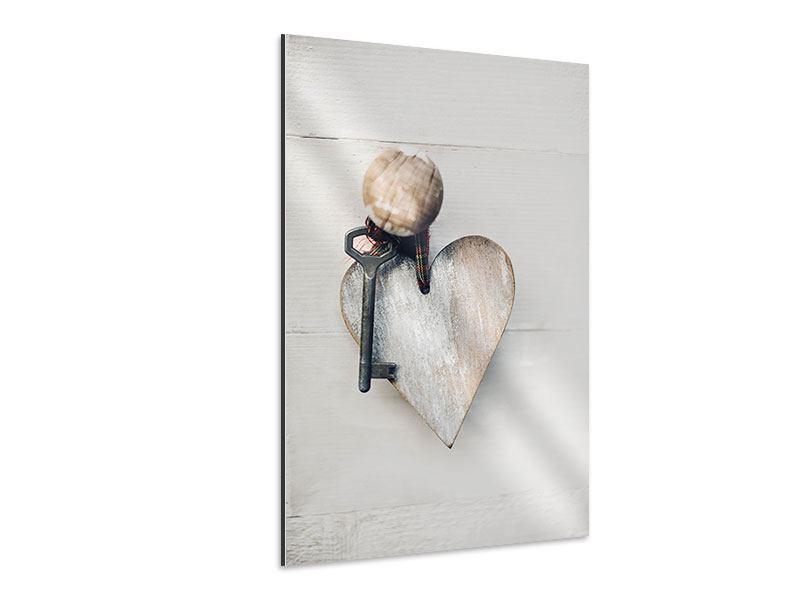 Aluminiumbild Herzschlüssel