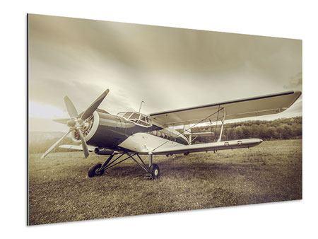 Aluminiumbild Nostalgisches Flugzeug im Retrostyle