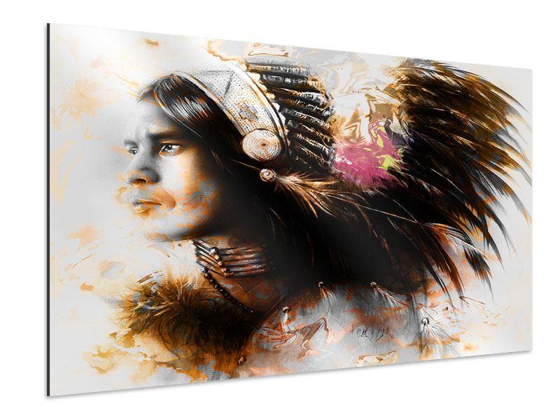 Aluminiumbild Kunstvolles Indianer-Portrait