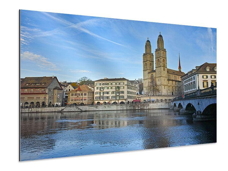 Aluminiumbild Die Altstadt von Zürich