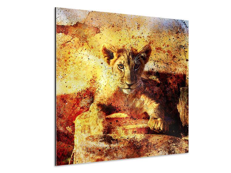 Aluminiumbild Kunstvolle Löwin