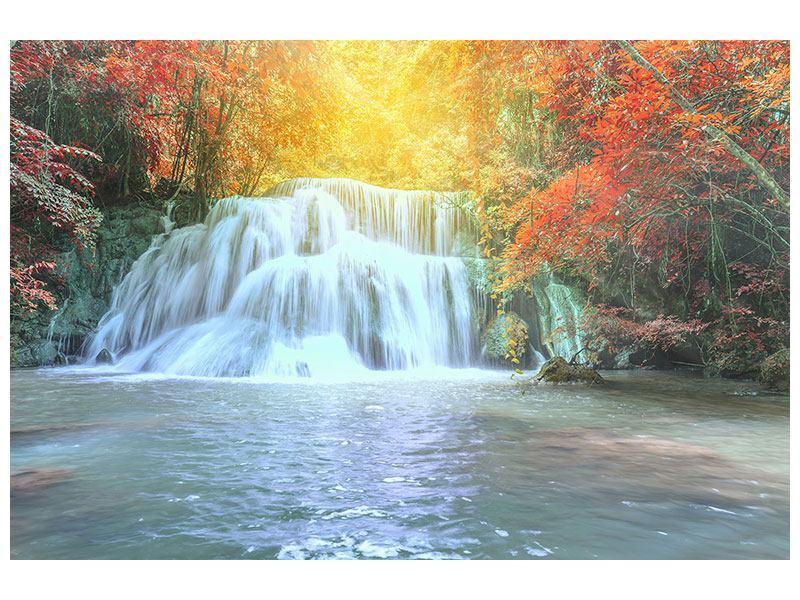 Aluminiumbild Wasserfall im Licht