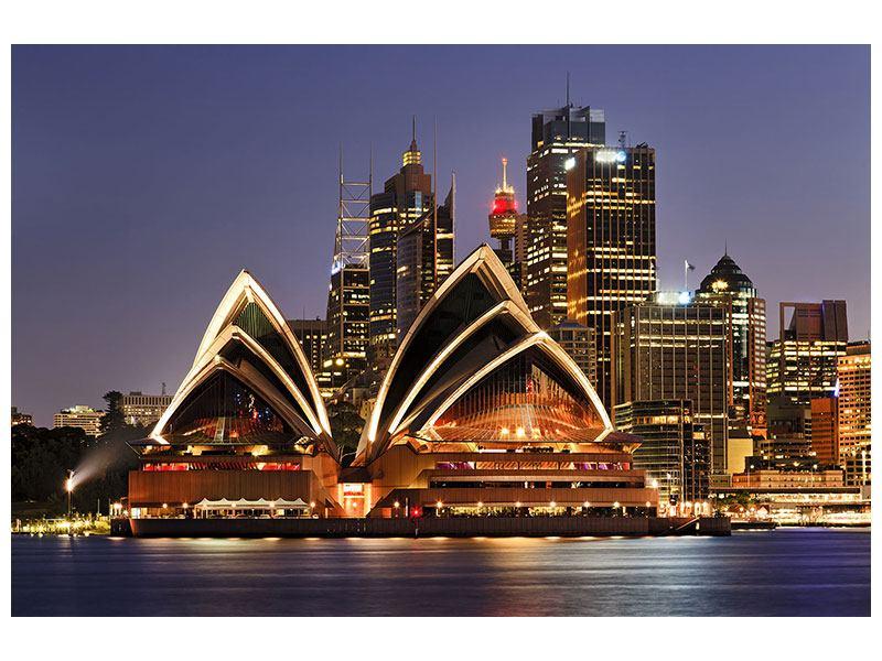 Aluminiumbild Skyline Mit dem Boot vor Sydney