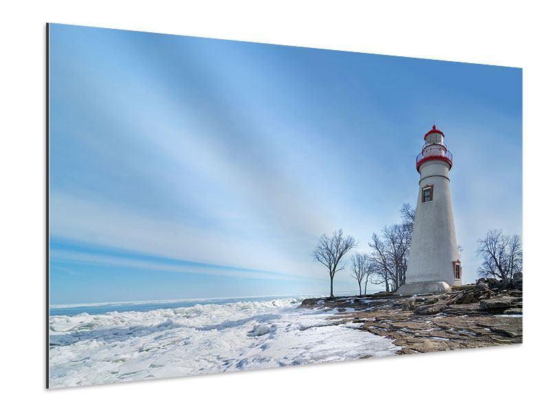 Aluminiumbild Leuchtturm im Schnee