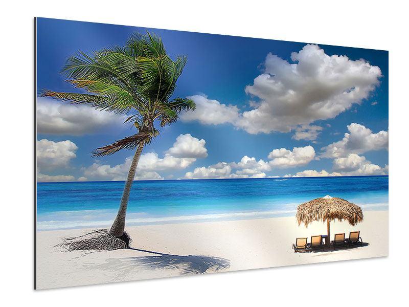 Aluminiumbild Strand an der blauen Lagune