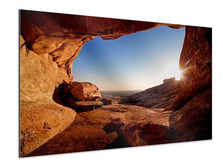 Aluminiumbild Sonnenuntergang vor der Höhle