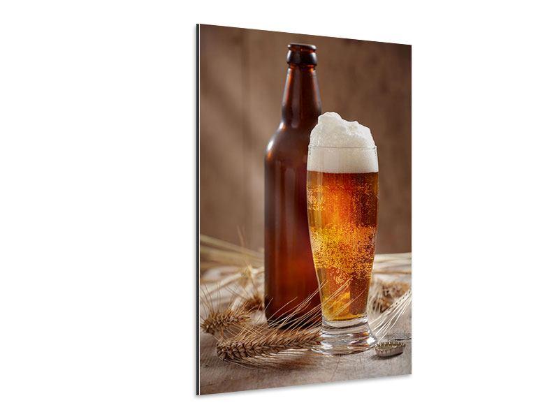 Aluminiumbild Bier mit Schaum
