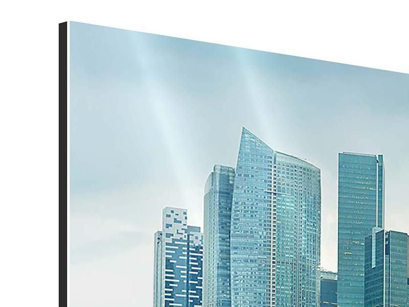 Aluminiumbild Skyline Sonnenaufgang in Singapur