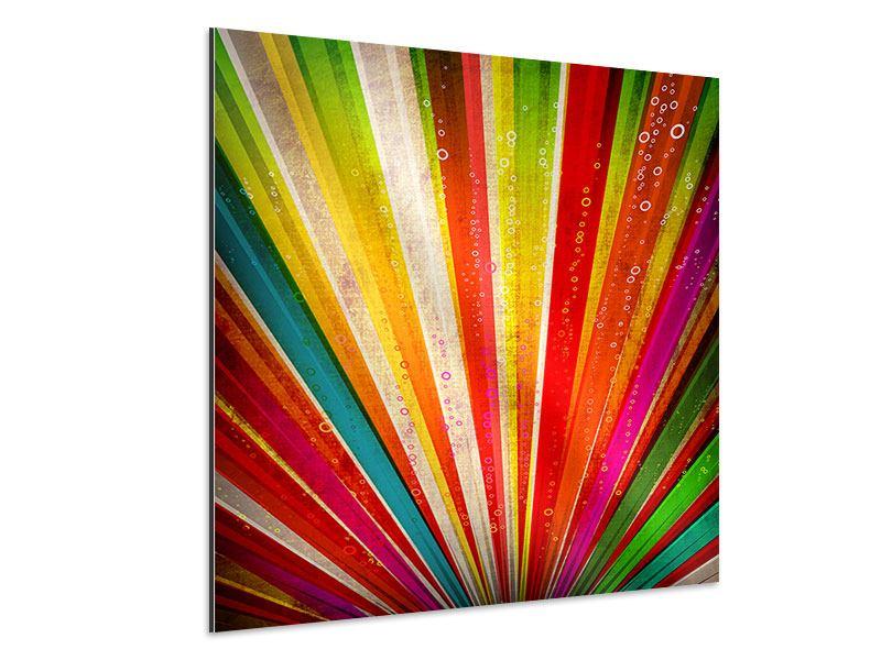 Aluminiumbild Abstrakte Farbstrahlen