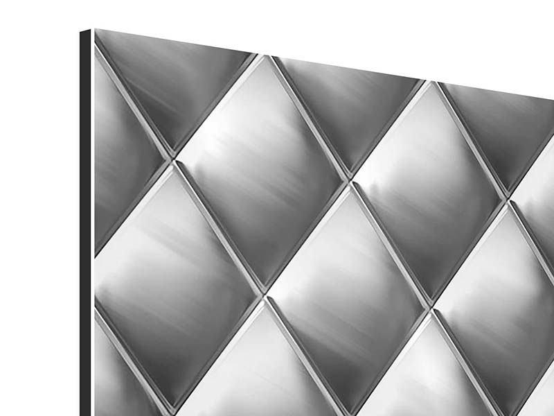 Aluminiumbild 3D-Rauten Silbergrau